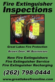 Fire Extinguisher Inspections Brown Deer, WI (262) 798-0444.. Local Wisconsin Businesses you have found the complete source for Fire Protection. Fire Extinguishers, Fire Extinguisher Service.. We're got you covered.. Great Lakes Fire Protection