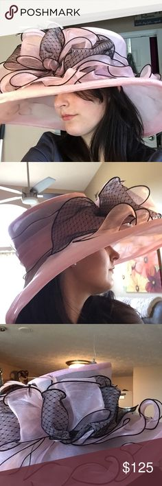Handmade Womens Hat (Derby Hat) (Sun Hat) Colors- light pink and black. Worn twice for derby and tea party ☀️ Entire hat was hand made, very well. Over $50.00 just in supplies to make the hat. Hat has been sprayed with scotch guard to protect the hat through any rain. Hat still looks beautiful. No stains, rips, eat. Hat is completely flawless.  Offers will be viewed. Thank you. Have a blessed day ☘ Vintage (Handmade) Accessories Hats