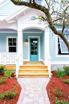 Aqua blue house exte