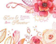 Spitzen & Blumen: Aquarell Blumen DIY-Elemente. Handgemalte