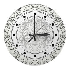 SOLD Wall Clock Drawing floral abstract! http://www.zazzle.com/wall_clock_drawing_floral_abstract-256987663437186214
