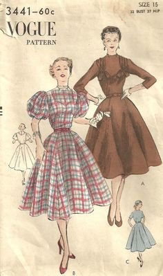 Vogue 3441 Vintage 50s Sewing Pattern Dress by studioGpatterns