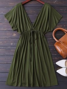 Plunge V Back Drawstring Dress - Army Green Xl Cute Casual Dresses, Simple Dresses, Sexy Dresses, Fashion Dresses, Summer Dresses, Boho Outfits, Casual Outfits, Mode Hippie, Modelos Fashion