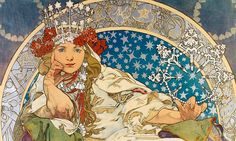 Princess Hyacinth, 1911 -- The only poster Czech Art Nouveau artist Alfons Mucha designed in his native country. Mucha created a fairy tale atmosphere in the harmony with the story of musical pantomine. The crown embellished with the flowers and concentric circles with mysterious symbols indicate elements from Mucha's Parisian era.