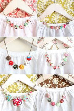 Whimsical fabric necklaces.