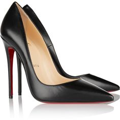 Christian Louboutin So Kate 120 leather pumps ($645) ❤ liked on Polyvore featuring shoes, pumps, christian louboutin, black high heel shoes, black leather shoes, black slip-on shoes and red sole pumps