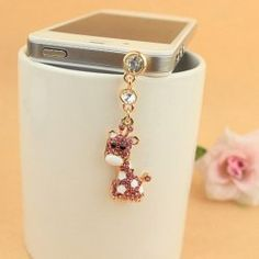 $2.66 New Arrival Sweet Style Rhinestone Embellished Giraffe Shape Cellphone Dustproof Plug