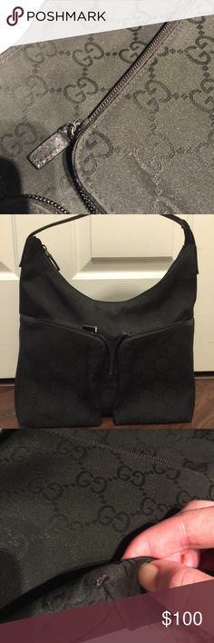 "Gucci purse Gently used.  Good condition except for a tiny rubbed corner (see pic). Roomy inside with two front pockets. 12"" X 16"" guaranteed authentic. Gucci Bags"