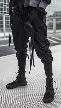 black joggers / techwear joggers by CLP - high quality _ made in italy Moda Cyberpunk, Cyberpunk Fashion, Cyberpunk Girl, Cyberpunk 2077, Dark Fashion, Urban Fashion, Street Fashion, Men Fashion, Mode Sombre
