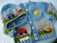 Baby Knitting Patterns For Kids Picture book set 'Sunday excursion'! Handknitted baby jacket with matching … Baby Knitting Patterns, Knitting Stitches, Baby Patterns, Crochet Patterns, Sweater Patterns, Crochet For Boys, Knitting For Kids, Crochet Art, Knit Or Crochet