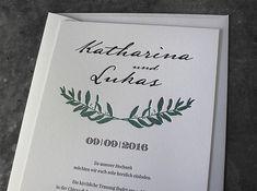 Letterpress Hochzeitseinladung, Druck in Wien, Umsetzung auf Baumwollpapier. Letterpress, Cover, Books, Design, Paper, Business Cards, Libros, Letterpress Printing, Letterpresses