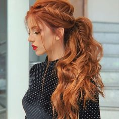 Best And Amazing Red Hair Color And Styles To Create This Summer; Red Hair Color And Style; Giner And Red Hair Braided Ponytail Hairstyles, Pretty Hairstyles, Red Hair Ponytail, Redhead Hairstyles, Ponytail Wedding Hair, Wedding Hairstyles, Red Hairstyles, Hairstyle Ideas, Red Wedding Hair
