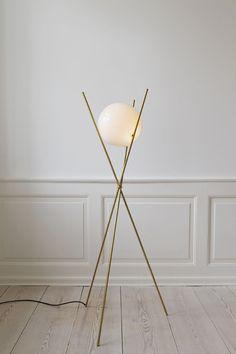 "Michael Anastassiades, 2012, United Kingdom ""Tree in the Moonlight"". Brass structure. Sphere of opaline blown glass. BASE 55 x H127 x globe DIA 25cm"