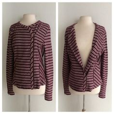 """FINALLucky Brand jacket Lucky Brand red and white striped jacket. Brand new with tags. Size L. 100% cotton. Measures 26"""" long with a 40"""" bust. There are two front pockets with zippers and the cuffs have zippers as well. There are some small snags on this jacket that are hardly noticeable when worn. No trades. Poshmark onlyI am very open to fair offers! Lucky Brand Jackets & Coats"""