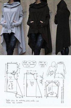 El patrón de la chaqueta deportiva con la capucha (la Costura y el corte) Fashion Sewing, Diy Fashion, Ideias Fashion, Fashion Outfits, Dress Sewing Patterns, Clothing Patterns, Pattern Sewing, Pattern Drafting, Diy Clothing