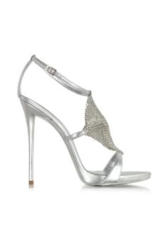 Giuseppe Zanotti Silver Metallic Leather and Crystal Sandal