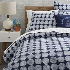 Chalk Dottie Duvet Cover + Shams - Nightshade — super cute with a pop of color!