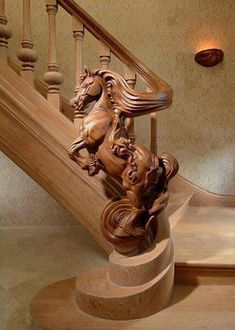 Wow! Horse-carved railing. And look at the spiral at the base.
