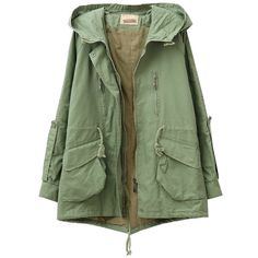 Drawstring Hooded Big Pockets Wind-coat ($51) ❤ liked on Polyvore featuring outerwear, coats, jackets, tops, pocket coat, green hooded coat, cotton coat, hooded coat and green coat