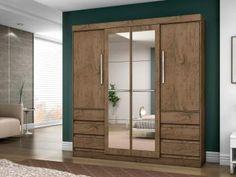 Guarda-roupa Casal 4 Portas 6 Gavetas - Araplac Linea com Espelho