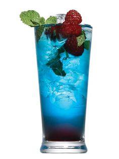 Berry Mojito..yumm  5 fresh mint leaves  1 tsp. granulated sugar  4 lime wedges, juiced  2 oz. Bacardi Razz  1/4 oz. Chambord  1/4 oz. Blue Curaçao  Splash of club soda  Garnish: mint, blueberries, and raspberries