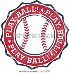 Play Ball! Baseball or Softball Stamp - stock vector