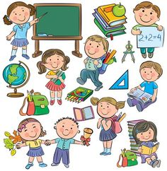 Pupils, pupils and school supplies School Cartoon, Cartoon Kids, Japanese Drawings, Easy Drawings, Eid Crafts, Drawing Lessons For Kids, Drawing School, School Clipart, Cartoon Sketches