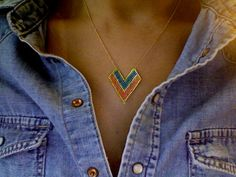Brick stitch and gold filled necklace. By S & Deva