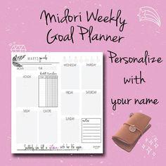 Midori Goal Planner, TN Goal Planner, Weekly Planner, Midori Insert, Travelers Notebook Insert, FauxDori Insert, Project Planner, PDF by BrookeEvahPrints on Etsy