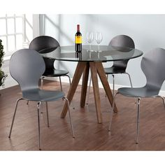 Wooden table base with round glass top on Overstock.com