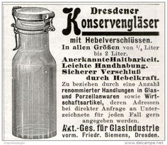 Original-Werbung/ Anzeige 1911 - DRESDENER KONSERVENGLÄSER / GLASINDUSTRIE AG VORM. SIEMENS DRESDEN  - ca. 55 x 50 mm