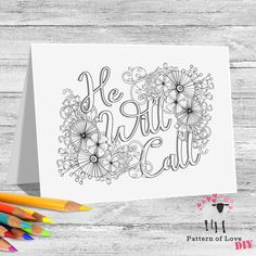 He Will Call Coloring Printable Note Cards | Etsy Jw Gifts, Dotted Line, Note Cards, Life Is Good, Card Stock, Moose Art, Coloring, Printables, Notes