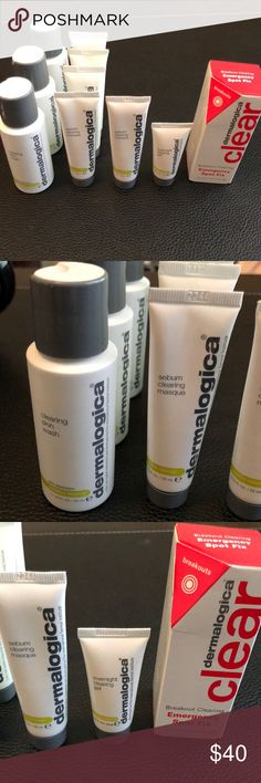 Dermalogica Clear Skin Products Over $100 in value. 3 Qty of 1.7oz Clearing Skin Wash, 2 Qty of 0.75oz Sebum Clearing Masque, 3 Qty of 0.75oz of Oil Control Moisturizer, 1 Qty of 0.5oz Overnight Clearing Gel, Qty 1 of 0.3oz of Breakout Clearing Emergency Spot Fix. dermalogica Other