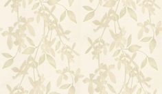 Cascade (JWP-1204) - Jocelyn Warner Wallpapers - A stunning design of climbing stems with blossoms intertwined with leaves tumbling down. Available in 5 colours. Shown in linen pale green colourway. Please ask for sample for true colour match and to appreciate the metallic effects of this paper.