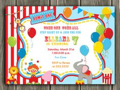 Printable Circus Ticket Birthday Invitation   Carnival   Kids Birthday Party   FREE thank you card inlcuded   Become a loyal fan on Facebook to receive freebies and see the latest designs! www.facebook.com/DazzleExpressions