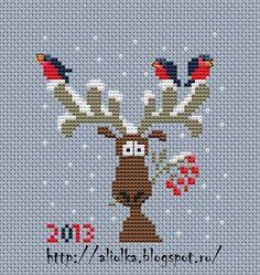 Reindeer with birds