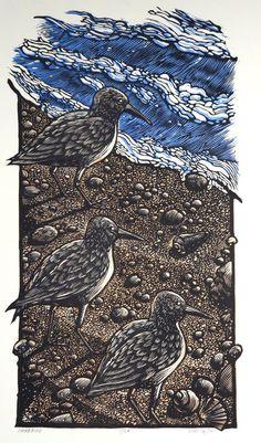 Shorebirds ~ Linocut, 18 x 10 inch ~ Rik Olson