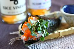 Hand Roll (Temaki) recipe - sushi rice with creamy spicy shrimp and ...