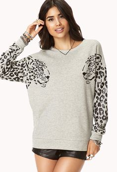 Mirrored Leopard Sweatshirt   FOREVER21 - 2000050346