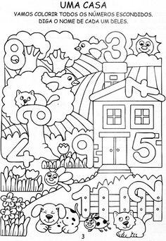 Help ao Professor: Atividades de matemática para ano e pré. Preschool Learning Activities, Preschool Activities, Teaching Kids, Kindergarten Math Worksheets, Alphabet Worksheets, Numbers Preschool, Math For Kids, Barn, 1st Year