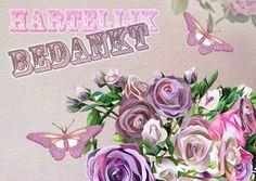 Bedankkaartjes - Hartelijk Bedankt Met Vlinders en Rozen - Via Kaartje2Go