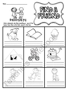 First Week Friend Search product from Sarah-Paul on TeachersNotebook.com