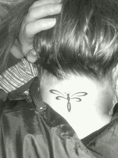 Dragonfly neck tattoo~ #necktattoosideas