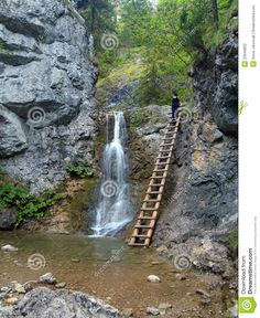 Waterfall And Ladder In Kvacianska Valley Stock Photography ...