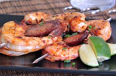Grilled Cajun Prawns with Andouille