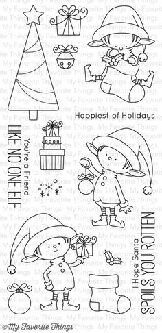 My Favorite Things - Clear Stamp - BB Santa's Elves-Santa is the face of a jolly Christmas holiday but we all know that the elves are the real braun b Christmas Doodles, Christmas Drawing, Christmas Crafts, Xmas, Christmas Holiday, Tampons Transparents, Mft Stamps, Digital Stamps, Colouring Pages