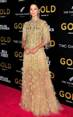 Camila Alves in a gold beaded Marchesa dress