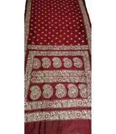 Maroon Pure Handloom Kantha Silk Saree South Silk Sarees, Types Of Stitches, Buy Sarees Online, Kantha Stitch, Ikat, Women's Fashion, Wedding Ideas, Pure Products, Embroidery