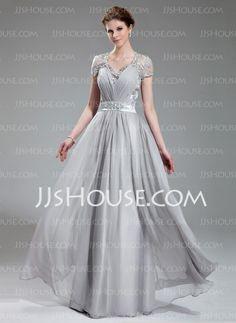 Evening Dresses - $186.99 - A-Line/Princess V-neck Floor-Length Chiffon Charmeuse Evening Dress With Ruffle Lace Beading (017019722) http://jjshouse.com/A-Line-Princess-V-Neck-Floor-Length-Chiffon-Charmeuse-Evening-Dress-With-Ruffle-Lace-Beading-017019722-g19722