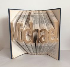 Folded Book Art 7 Letter NAME OR WORD Recycled by heyjude6459